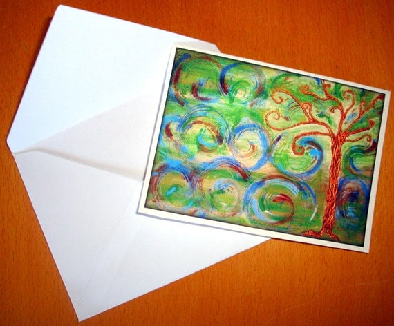 5 x 3.5 Art Whimsical Tree Card - from original Mixed Media