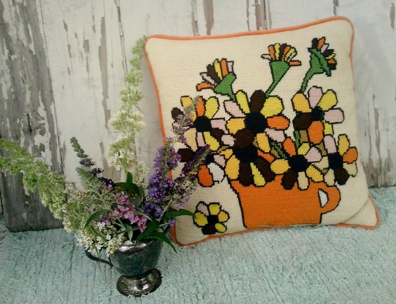Vintage mod floral throw pillow