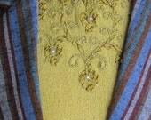Retro 50's mustard yellow knit sweater.  Pearl & ribbon embroidery.