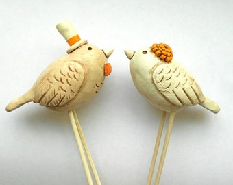Neutral Birds in lLove Wedding cake topper Rustic Wedding Ivory Linen and Tangerine