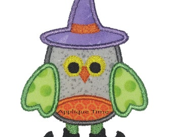 Instant Download Witch Owl Machine Embroidery Applique Design 4x4, 5x7 and 6x10 Sizes