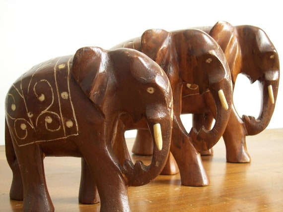 Wooden Elephant Figurines with Inlaid Bone, Set of Three