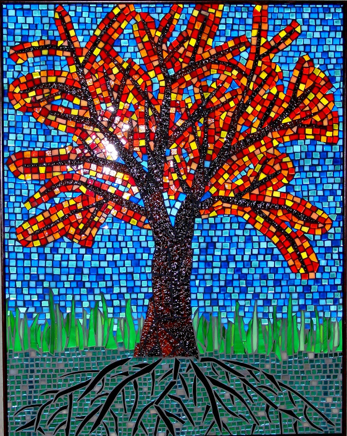 Fall Tree Mosaic Stained Glass Original Artwork