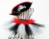 Girls Pirate Costume Tutu with Hat. Red White Black. Pirate Hat. Halloween. Dress Up. Birthdays. Photo Prop. Toddler 2T-4T