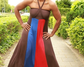 Dress, multiwear, long, colourful, gypsie style in lycra (stretch)