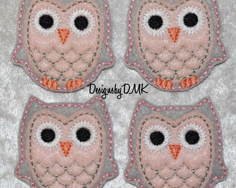Owl Grey with Baby Pink Belly Felt Embroidered Embellishment Clippie Cover SET of 4 - Multiple Sets Available