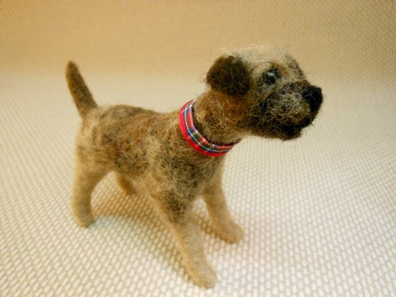 "Needle Felted Border Terrier Dog 3.5"" tall"