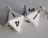 Dice Earrings, Eight Sided Die, D8, White, Dungeons and Dragons