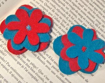 Felt flower applique embellishments, blue and red, 6 pcs.