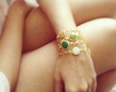 ONE statement bracelet summer fashion  orange peach white jade stone matte textured gold frame gemstone BRACELET israel jewelry