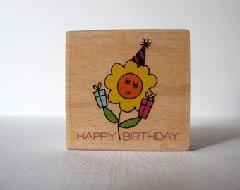 Happy Birthday (Flower) Wooden Mounted Rubber Stamping Block DIY tags, Greeting Cards, and Scrapbooking