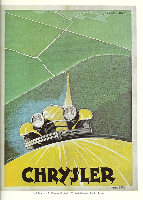 Antique French Chrysler Car Automobile Advertising Poster By