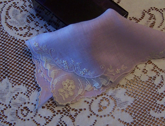Lavender Ecru Lace Handkerchief Vintage Bride's Hanky Something Old Wedding