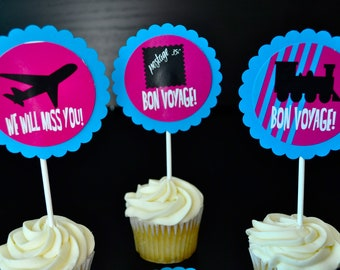 Bon Voyage, Send off party, Farewell and Good Bye Cupcake Toppers