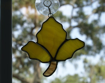 "Stained Glass ""Maple Leaf""  Suncatcher in Yellow Swirled Opalescent Glass"