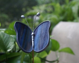 Stained Glass, Blue,Purple,White and Brown Mixed Opalescent Butterfly Garden Plant Stake