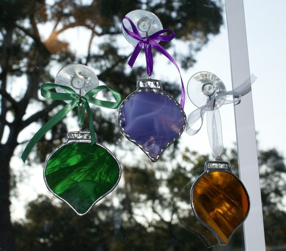 """Stained Glass Mardi Gras Holiday """"Round"""" Ornament Set  Christmas Tree or Holiday Package Embellishment -"""
