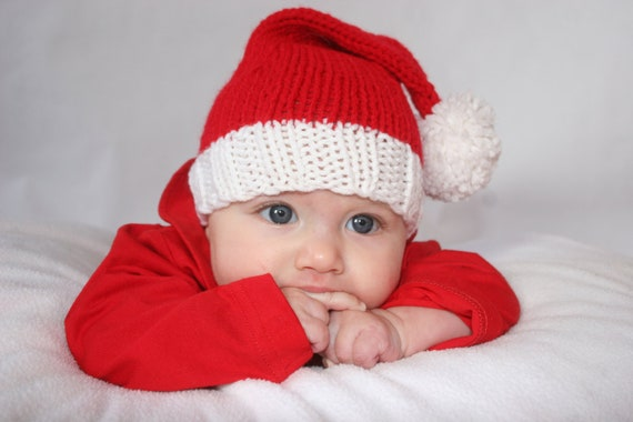 Newborn to 3 months Knitted Photo Prop Red Santa Stocking Christmas Hat - IN STOCK