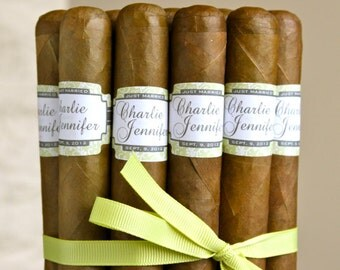 16 Wedding Cigar Bands - Custom Printed Labels - Leafy Crest