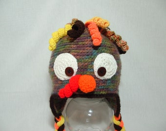 Gobble, Gobble Turkey Earflap Hat  Boy Girl Costume Winter Christmas Photo Prop Cap Outfit