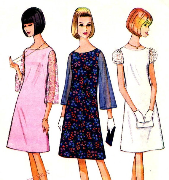 McCalls 8261 Vintage 60s Mod Sewing Pattern A Line Dress with Sheer Bell or Puff Sleeves--Bust 34