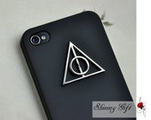 Deathly Hallows Symbol Stone Iphone 4 4S Hard Case, Black Iphone 4 Case, Iphone 4S case, Black Phone cover for Iphone 4 4s 4g