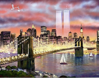Ghost Twin Towers In Pink Skies New York City Framed Art Print On Canvas