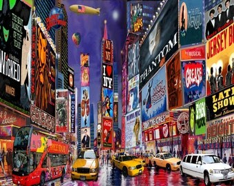 Times Square New York City Framed Art Print On Canvas