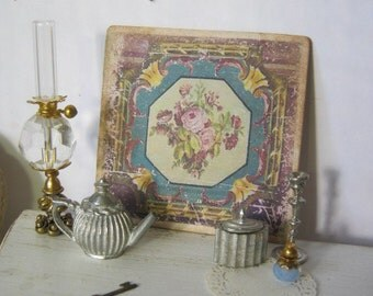 Antiqued Aubusson Print Sign for Dollhouse