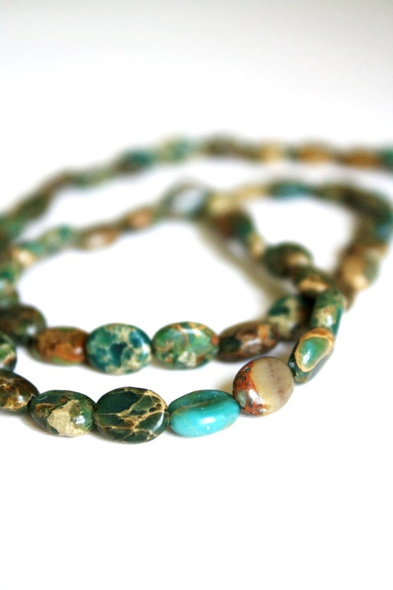 Natural Imperial Jasper Gemstone Smooth Oval Beads - 8mm x 6mm Average - 1 Strand 14.5 Inches
