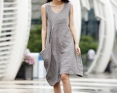 Single Big Pocket Vest Dress in Grey - NC037