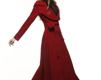 Wine Red Coat Big Lapel Women Wool Winter Coat Long Jacket - NC484