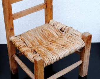 Vintage Childrens Wood Chair, Wicker Seat, Farmhouse Rustic Decor