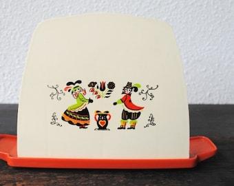 Vintage Pennsylvania Dutch Napkin Holder, 1960s Kitchen Decor Plastic Tableware