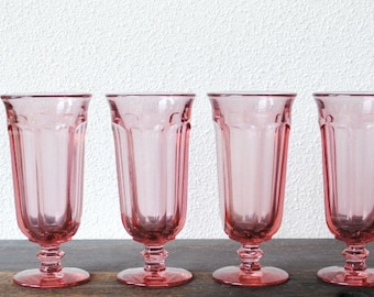 Vintage Pink Drink Glasses, Old Williamsburg Imperial Ohio Glass Stemware, Set of Four (4)