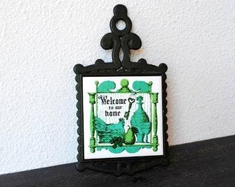 Vintage Trivet Cast Iron Country Hen on Nest Kitchen Print Ceramic Tile Insert, Blue Green Teal