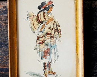 Old North African Tribal Art Drawing, Native Man Baby, Signed Framed Rare Collectible Decor, Northern Africa