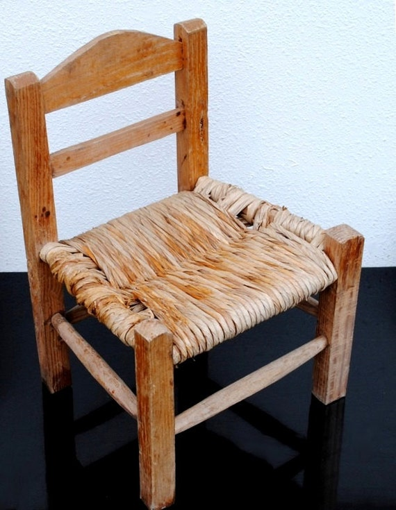 Vintage Childrens Wood Chair Wicker Seat By Vintageeclecticity