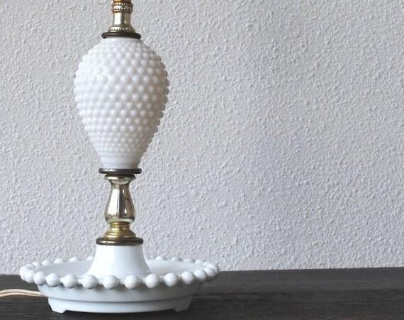 vintage white milk glass lamp hobnail depression era working