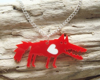 Bramley the Wolf acrylic necklace with an extra coloured heart