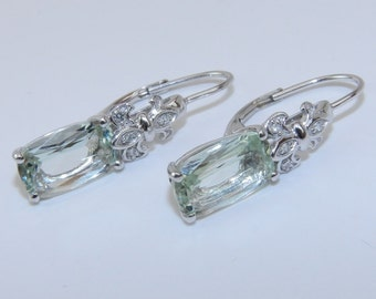 SALE Diamond and Green Amethyst Earrings Lever Back Fleur De Lis Drop Earrings 14K White Gold