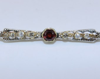 Antique Pin Victorian Edwardian Brooch Diamond and Spessartite Garnet Brooch Pin 14K Yellow Gold