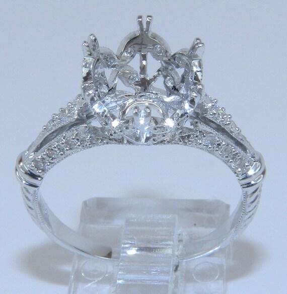 18K White Gold Unique 2 ct Round Diamond Engagement Ring Setting Vintage Style