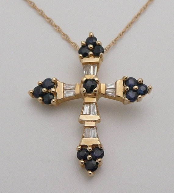 "14K Yellow Gold Unique Diamond & Sapphire CROSS Pendant Necklace 18"" Chain"