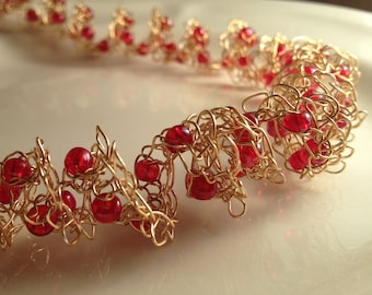 Gold Spiral Beaded Necklace Gold Red Spring Knitted Wire Adjustable Length Necklace
