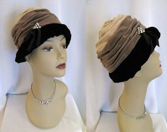 Vintage 1950s Hat - Evelyn Varon Exclusive Velvet Turban Cloche Hat with Rhinestones