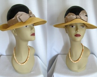 True Vintage 1960s Frank Olive Wide Brim Straw Hat - Black