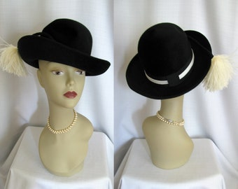 Vintage 1950s - 60s Kay-Lynn Wide Brim Hat with Feathers - Kentucky Derby Hat