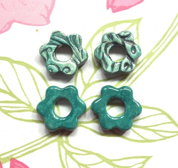 Handmade Ceramic Daisy  Beads Aqua Teal