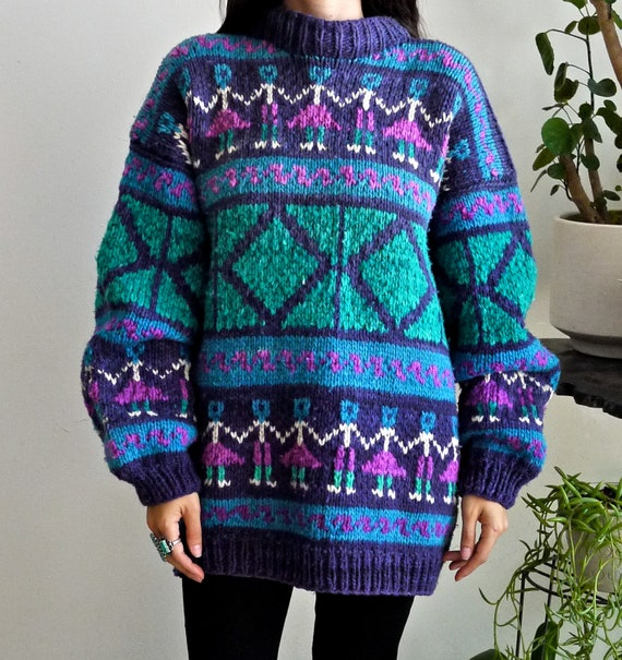 Hand Knit Ethnic People Sweater